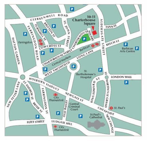 Location Map 10 11 Charterhouse Square Ec1